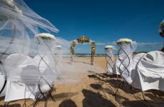 Vasilikos Sands beach wedding and reception