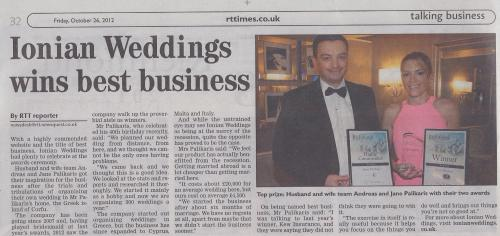 Ionian Weddings Wins Best Business